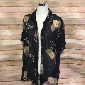 Black sheer floral blouse